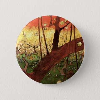 Van Gogh Japanese Flowering Plum Tree, Fine Art 6 Cm Round Badge