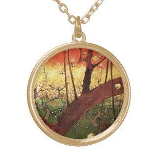 Van Gogh Japanese Flowering Plum Tree, Fine Art Gold Plated Necklace