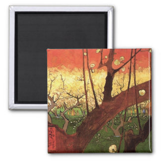 Van Gogh Japanese Flowering Plum Tree, Fine Art Square Magnet