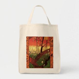Van Gogh Japanese Flowering Plum Tree, Vintage Art Grocery Tote Bag