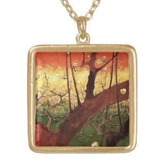 Van Gogh Japanese Flowering Plum Tree, Vintage Art Square Pendant Necklace