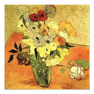 Van Gogh Japanese Vase w Roses Christmas Party 13 Cm X 13 Cm Square Invitation Card