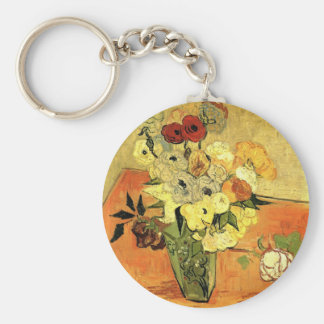 Van Gogh Japanese Vase with Roses and Anemones Basic Round Button Key Ring