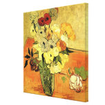 Van Gogh Japanese Vase with Roses and Anemones Canvas Print