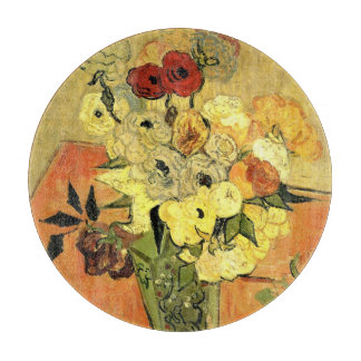 Van Gogh Japanese Vase with Roses and Anemones Cutting Board