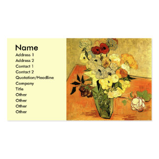 Van Gogh Japanese Vase with Roses and Anemones Pack Of Standard Business Cards