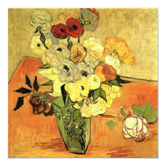 Van Gogh Japanese Vase with Roses Christmas Party 13 Cm X 13 Cm Square Invitation Card
