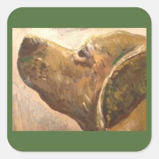 Van Gogh Lab Dog Painting Square Sticker