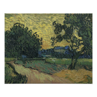 Van Gogh Landscape at Twilight 1890 Poster