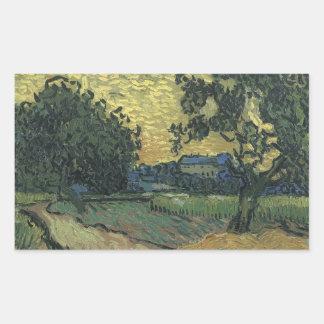 Van Gogh Landscape at Twilight 1890 Rectangular Sticker