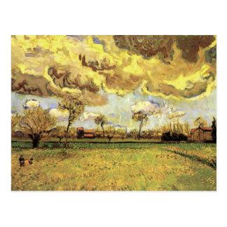 Van Gogh Landscape Under Stormy Sky, Fine Art Postcard