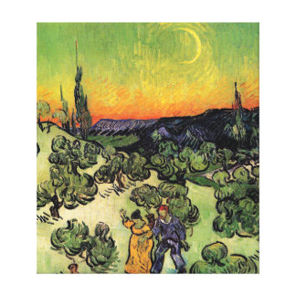 Van Gogh - Landscape With Couple Walking Stretched Canvas Print