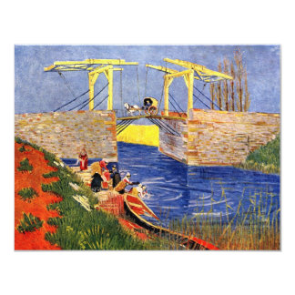 Van Gogh Langlois Bridge, Arles, Vintage Fine Art 11 Cm X 14 Cm Invitation Card