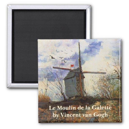 Van Gogh Le Moulin de la Galette, Vintage Windmill Square Magnet
