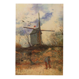 Van Gogh Le Moulin de la Galette, Vintage Windmill Wood Wall Decor