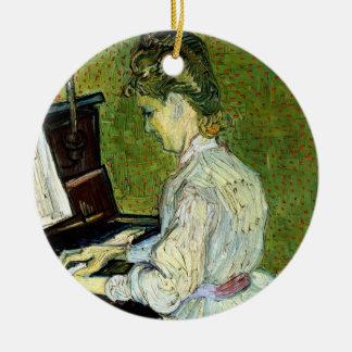 Van Gogh; Marguerite Gachet at Piano, Vintage Art Round Ceramic Decoration