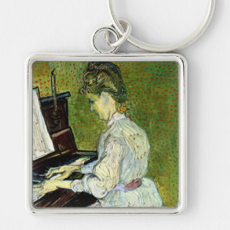 Van Gogh; Marguerite Gachet at Piano, Vintage Art Silver-Colored Square Key Ring