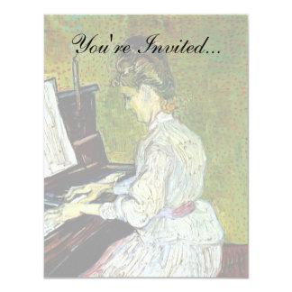 Van Gogh - Marguerite Gachet At The Piano 4.25x5.5 Paper Invitation Card