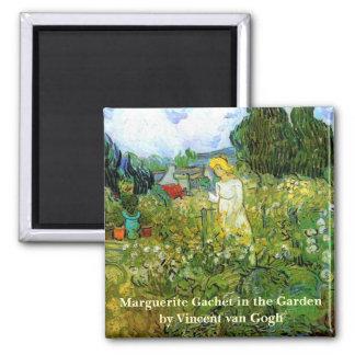 Van Gogh; Marguerite Gachet in Garden, Vintage Art Square Magnet