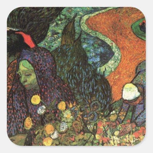 Van Gogh; Memory of the Garden, Etten, Vintage Art Square Stickers
