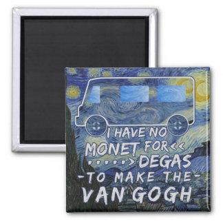Van Gogh Monet Degas Funny Artist Pun Starry Night Square Magnet