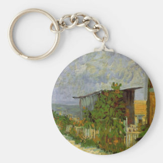 Van Gogh Montmartre Path with Sunflowers, Fine Art Basic Round Button Key Ring