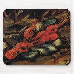 Van Gogh, Mussels and Shrimp, Vintage Still Life Mouse Mats