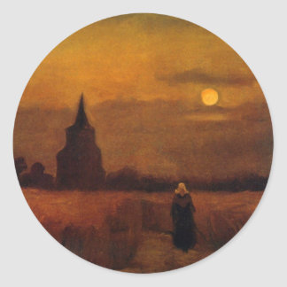 Van Gogh Old Tower In The Fields, Vintage Fine Art Classic Round Sticker