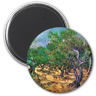 Van Gogh - Olive Grove 6 Cm Round Magnet