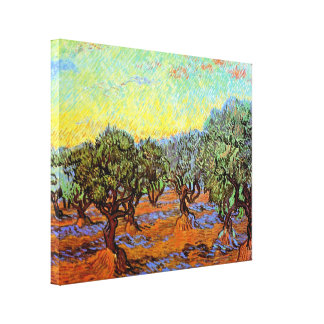 Van Gogh - Olive Grove Orange Sky Canvas Print