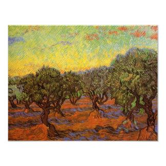Van Gogh Olive Grove Orange Sky, Vintage Fine Art 11 Cm X 14 Cm Invitation Card