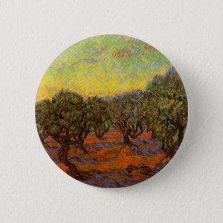Van Gogh Olive Grove Orange Sky, Vintage Fine Art 6 Cm Round Badge