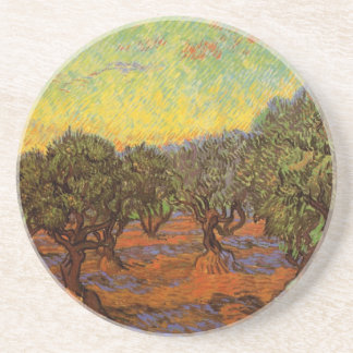 Van Gogh Olive Grove Orange Sky, Vintage Fine Art Drink Coasters
