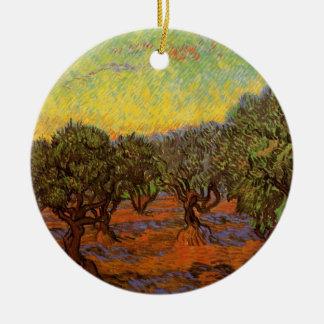Van Gogh Olive Grove Orange Sky, Vintage Fine Art Round Ceramic Decoration