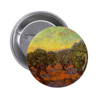 Van Gogh Olive Grove Orange Sky, Vintage Landscape Button