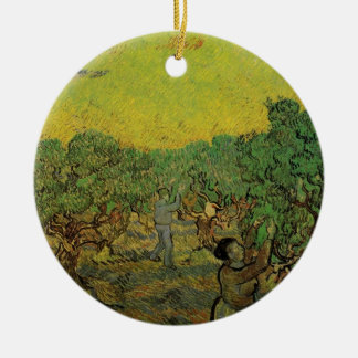 Van Gogh Olive Grove Picking Figures, Fine Art Round Ceramic Decoration
