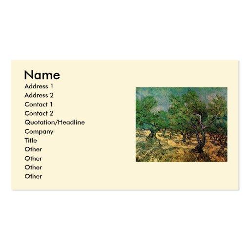 Van Gogh; Olive Grove, Vintage Impressionism Art Business Card Templates