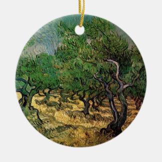 Van Gogh Olive Grove, Vintage Landscape Fine Art Round Ceramic Decoration
