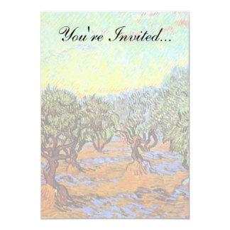 Van Gogh - Olive Grove with Orange Sky 13 Cm X 18 Cm Invitation Card