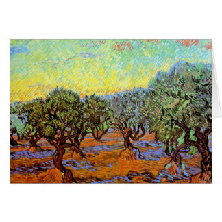 Van Gogh - Olive Grove with Orange Sky Greeting Card