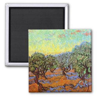 Van Gogh - Olive Grove with Orange Sky Refrigerator Magnet