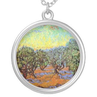 Van Gogh - Olive Grove with Orange Sky Round Pendant Necklace
