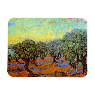 Van Gogh - Olive Grove with Orange Sky Flexible Magnets