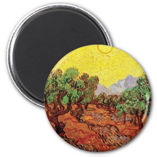 Van Gogh - Olive Trees With Yellow Sky And Sun Fridge Magnets