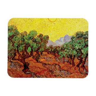 Van Gogh - Olive Trees With Yellow Sky And Sun Rectangular Photo Magnet