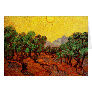 Van Gogh Olive Trees with Yellow Sky Sun, Fine Art Card