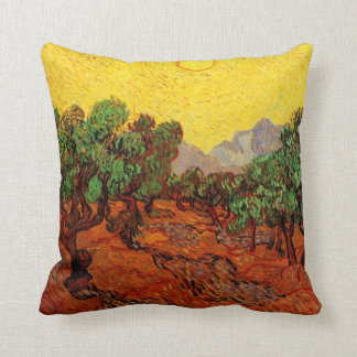 Van Gogh Olive Trees with Yellow Sky Sun, Fine Art Cushion