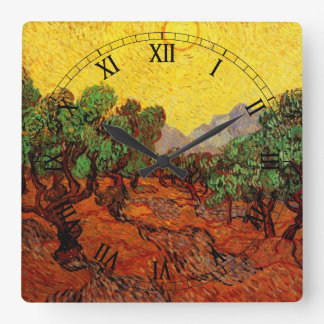 Van Gogh Olive Trees with Yellow Sky Sun, Fine Art Square Wall Clock