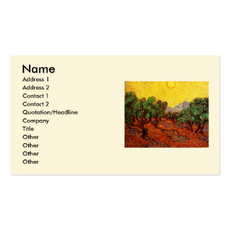 Van Gogh Olive Trees Yellow Sky Sun, Vintage Art Double-Sided Standard Business Cards (Pack Of 100)