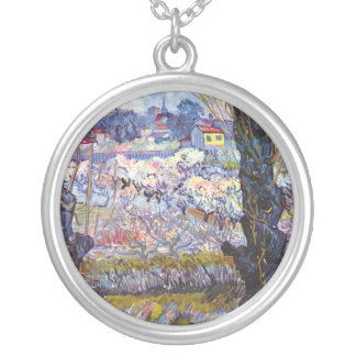 Van Gogh – Orchard In Bloom With Poplars Round Pendant Necklace